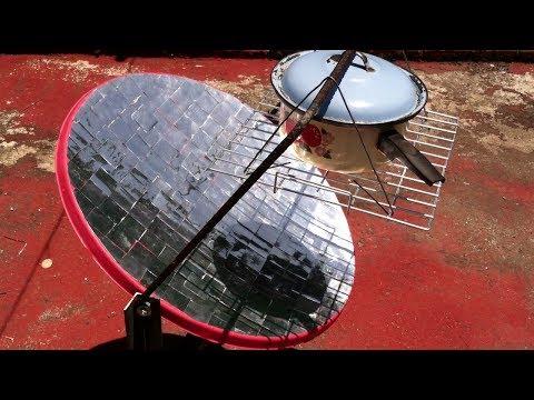 Cocina solar con antena y latas de aluminio Avance