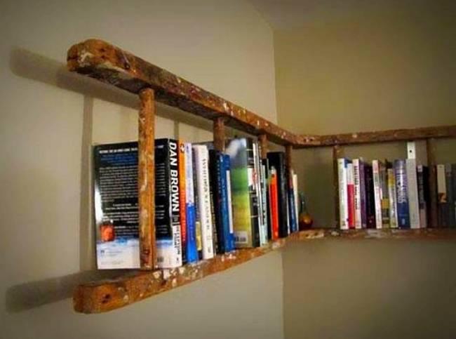estante escalera madera