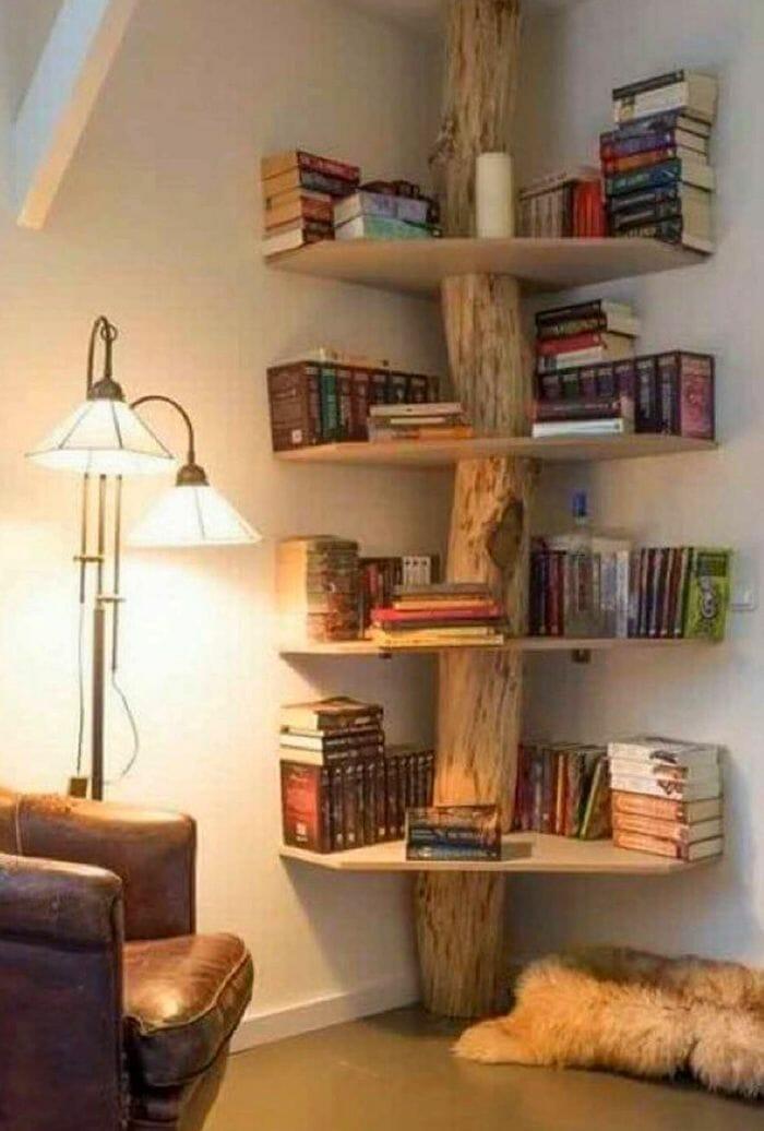 estanteria esquinera de madera