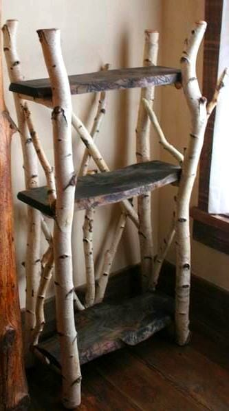 estanteria troncos madera