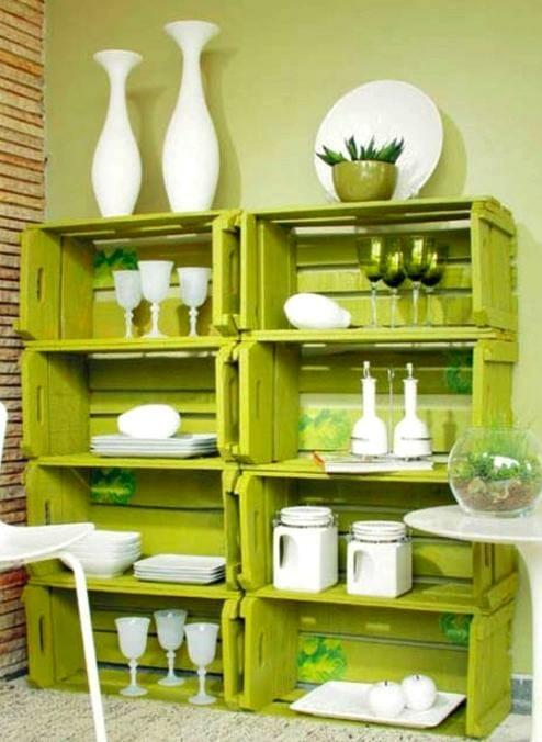 estanterias cajas madera