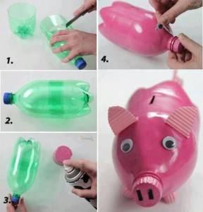 hucha botella plastico