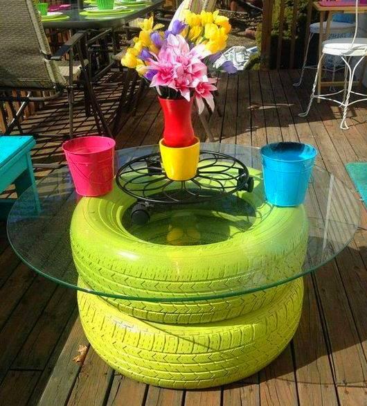mesa casera ruedas viejas