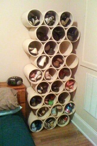 16 ideas de como reutilizar y reciclar tubos de pvc for Zapatero para exterior