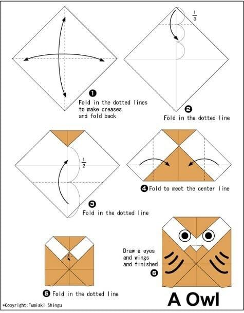 Buho origami paso a paso imagenes b 250 ho de origami 3d - Papiroflexia paso a paso ...