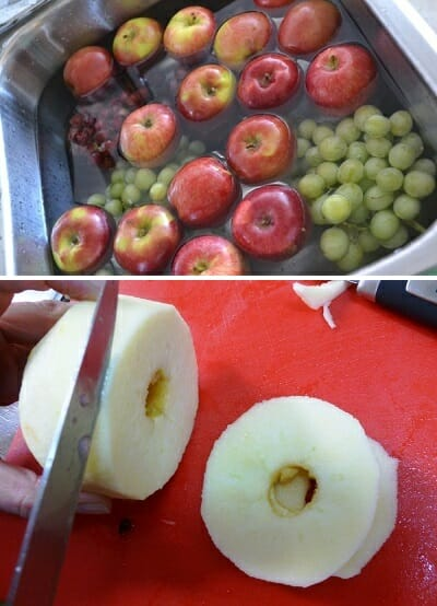 lavar cortar fruta