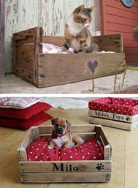 cama mascotas caja madera