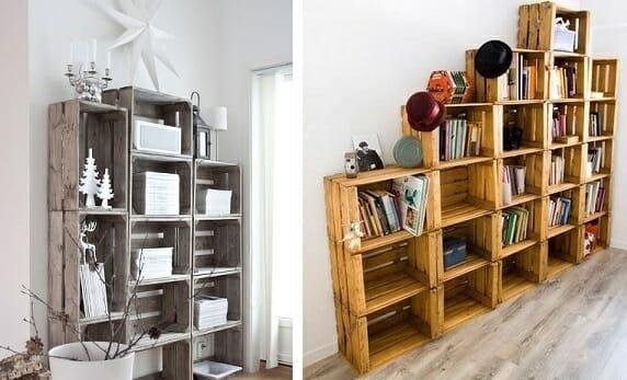 estanterias caseras cajas madera