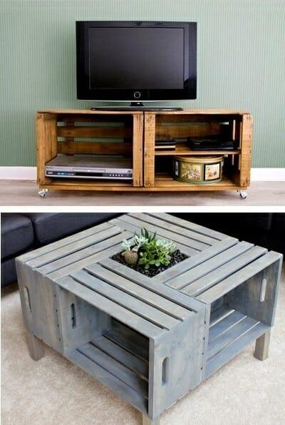 6 ideas para reciclar cajas de madera de fruta for Mesa con cajas de fruta