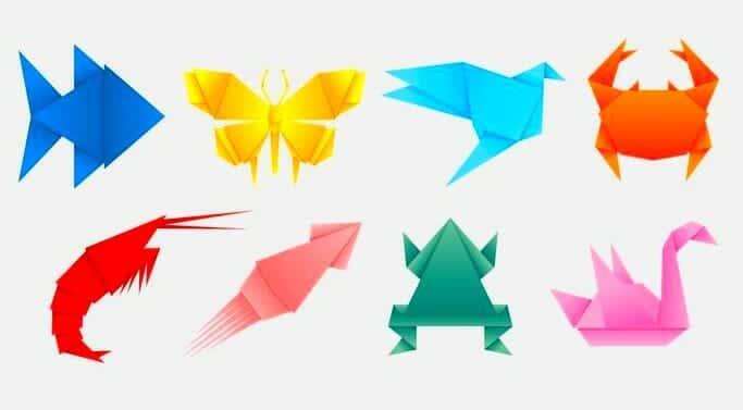 figuras animales hechas de papel